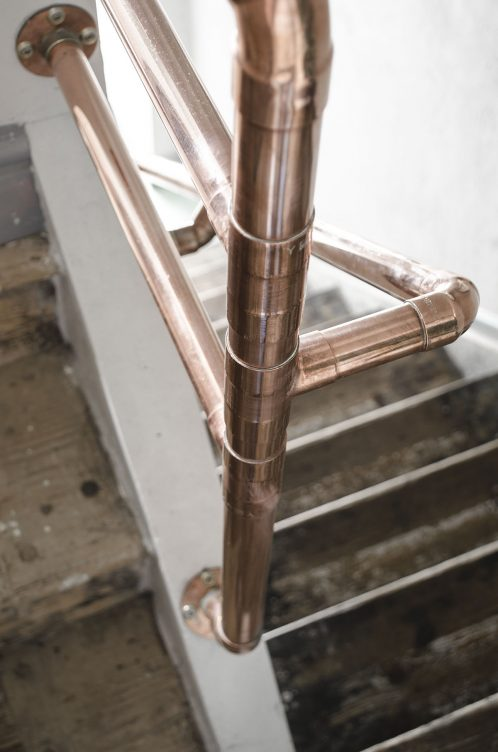 Copper Handrail Steel Roots Design