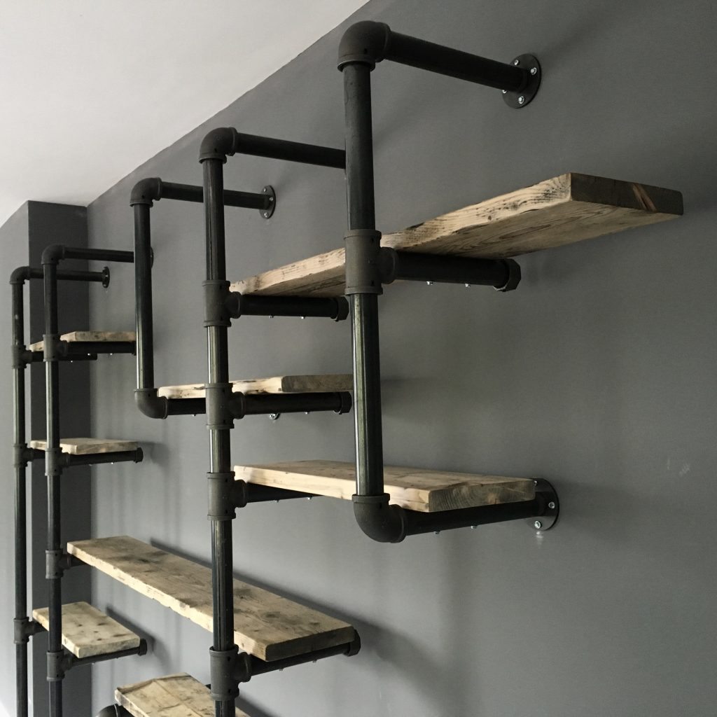 Gas Pipe Shelving Steel Roots Design