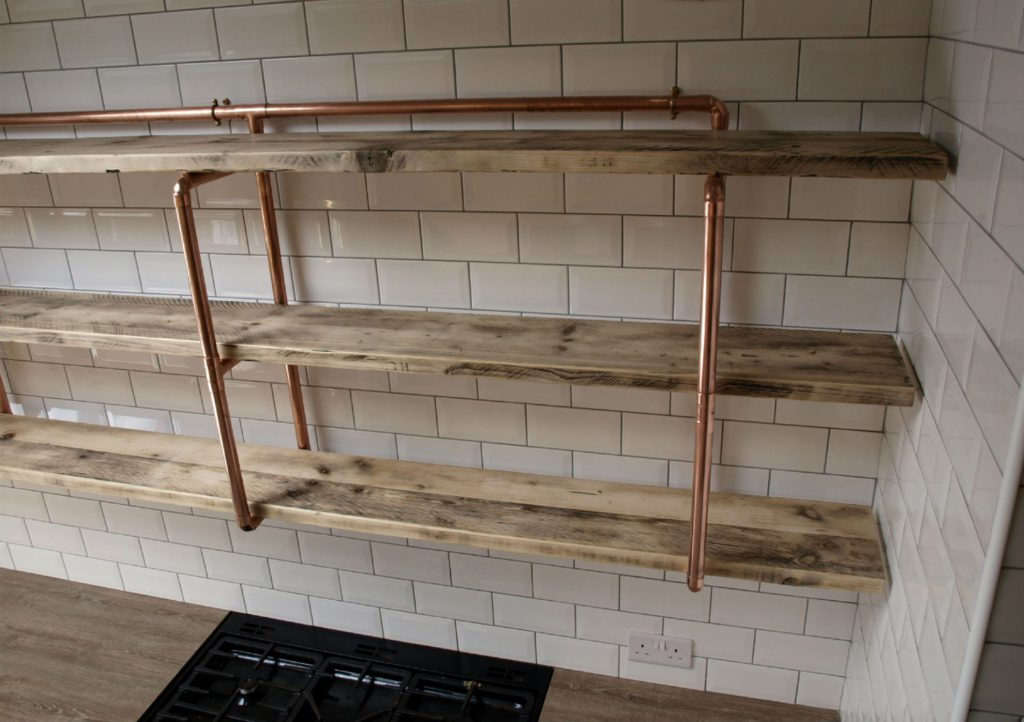 Copper Pipe And Reclaimed Wood Shelving Steel Roots Design